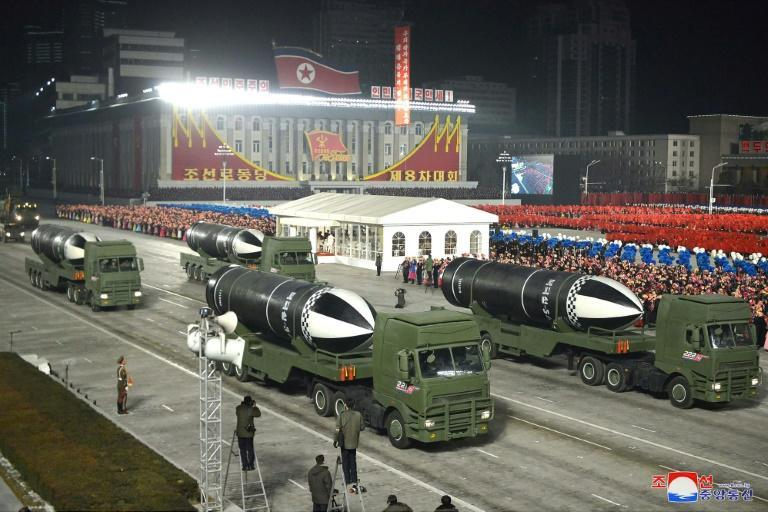 What appear to be submarine-launched ballistic missiles are displayed during a military parade in Pyongyang on January 14, 2021, in a photo released by North Korea's official Korean Central News Agency