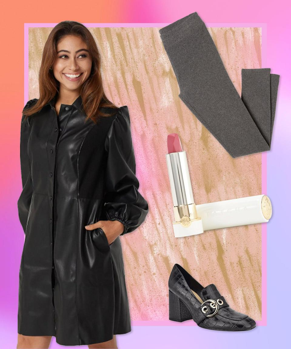 """For a final look that takes super-soft leggings to a place that's a little more dressed-up than usual, we've paired a gray version with a vegan leather dress, buckled loafers (subtle shoutout to the forefathers), and a hydrating lipstick everyone in the group Zoom will want to know about.<br><br><strong>Cuddl Duds</strong> Fleecewear Stretch Leggings, $, available at <a href=""""https://go.skimresources.com/?id=30283X879131&url=https%3A%2F%2Fwww.qvc.com%2FCuddl-Duds-Fleecewear-Stretch-Leggings.product.A342094.html"""" rel=""""nofollow noopener"""" target=""""_blank"""" data-ylk=""""slk:QVC"""" class=""""link rapid-noclick-resp"""">QVC</a><br><br><strong>Laurie Felt</strong> Faux Leather Dress with Side Pockets, $, available at <a href=""""https://go.skimresources.com/?id=30283X879131&url=https%3A%2F%2Fwww.qvc.com%2FLaurie-Felt-Faux-Leather-Dress-with-Side-Pockets.product.A385452.html"""" rel=""""nofollow noopener"""" target=""""_blank"""" data-ylk=""""slk:QVC"""" class=""""link rapid-noclick-resp"""">QVC</a><br><br><strong>Nine West</strong> Square Toe Heeled Loafers, $, available at <a href=""""https://go.skimresources.com/?id=30283X879131&url=https%3A%2F%2Fwww.qvc.com%2FNine-West-Square-Toe-Heeled-Loafers---Karleen.product.A531351.html"""" rel=""""nofollow noopener"""" target=""""_blank"""" data-ylk=""""slk:QVC"""" class=""""link rapid-noclick-resp"""">QVC</a><br><br><strong>Tatcha</strong> Plum Blossom Silk Lipstick, $, available at <a href=""""https://go.skimresources.com/?id=30283X879131&url=https%3A%2F%2Fwww.qvc.com%2FTATCHA-Plum-Blossom-Silk-Lipstick.product.A367812.html%3Fsc%3DNAVLIST"""" rel=""""nofollow noopener"""" target=""""_blank"""" data-ylk=""""slk:QVC"""" class=""""link rapid-noclick-resp"""">QVC</a>"""