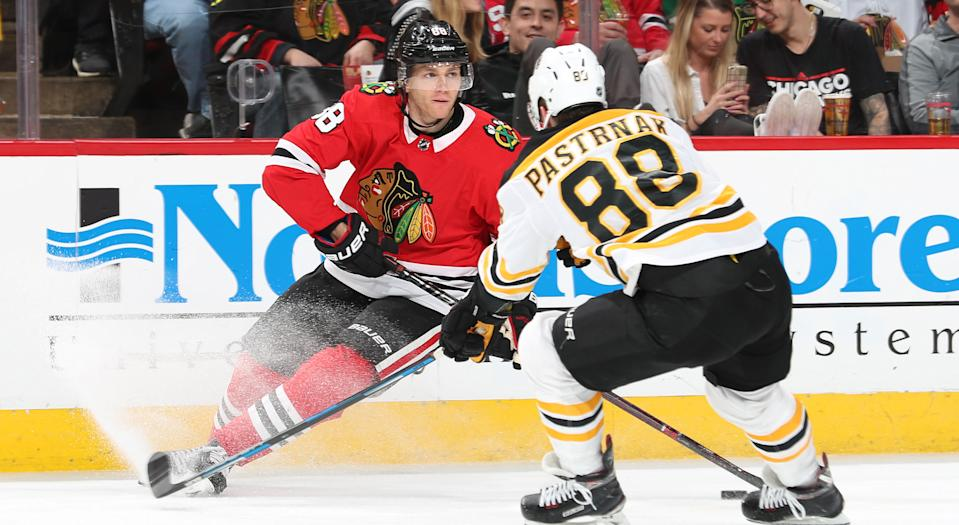 There's never a shortage of star power on display when the Bruins and Blackhawks meet. (Getty)