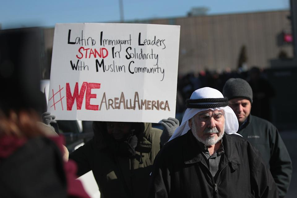 Interfaith religious leaders join together in a show of support for the Muslim community outside the Mosque Foundation on February 3, 2017 in Bridgeview, Illinois. The demonstration was held to show religious unity following President Donald Trump's recent executive order.