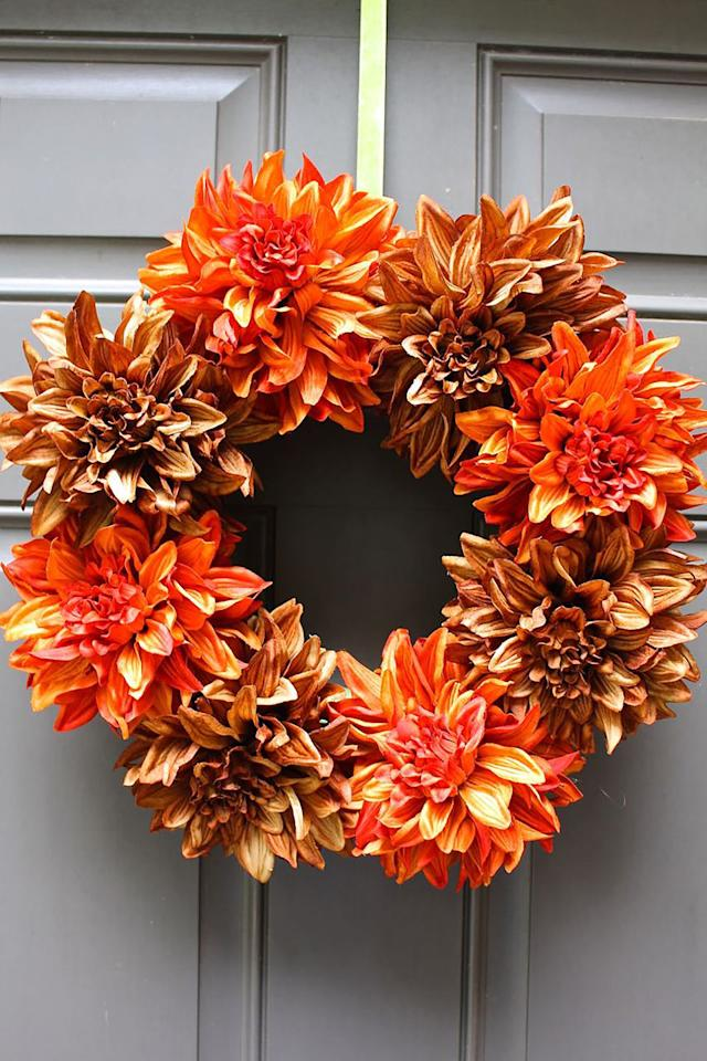 "<p>Fresh flower wreaths might be beautiful, but sometimes they just aren't practical. Add a touch of fall to your home with this easy-to-make faux flower design. </p><p><strong>Get the tutorial at <a rel=""nofollow"" href=""https://2beesinapod.com/2015/09/08/easy-fall-wreath/"">2 Bees in a Pod</a>. </strong></p>"