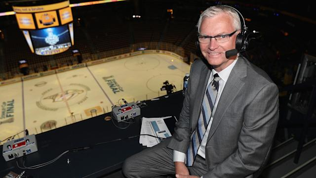 Jim Hughson poses in the broadcast booth. (Photo by Dave Sandford/NHLI via Getty Images)