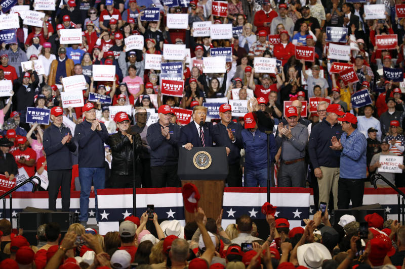 President Donald Trump speaks after bringing members of the 1980 U.S men's Olympic hockey team onstage during a campaign rally, Friday, Feb. 21, 2020, in Las Vegas. (AP Photo/Patrick Semansky)