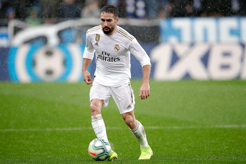 VITORIA GASTEIZ, SPAIN - NOVEMBER 30: Dani Carvajal of Real Madrid during the La Liga Santander match between Deportivo Alaves v Real Madrid at the Estadio de Mendizorroza on November 30, 2019 in Vitoria Gasteiz Spain (Photo by David S. Bustamante/Soccrates/Getty Images)