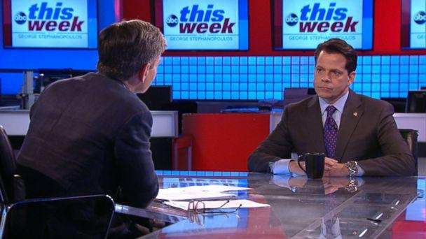 PHOTO: ABC News' George Stephanopoulos interviews Anthony Scaramucci on 'This Week,' Aug. 13, 2017. (ABC News)