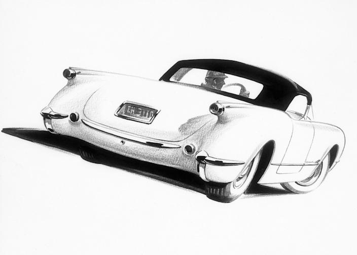 1953 Chevrolet Corvette sketch.