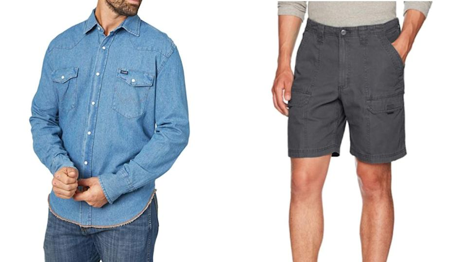"""<a href=""""https://amzn.to/3l3BkFx"""" target=""""_blank"""" rel=""""noopener noreferrer"""">Wrangler</a> specializes in men's work clothing like button-down shirts, cargo shorts and jeans. They offer sizes XS to 2X and 30 to 48, as well as tall and extended sizes. <br /><br />Shop this <a href=""""https://amzn.to/2QcBIU4"""" target=""""_blank"""" rel=""""noopener noreferrer"""">Wrangler Western long-sleeve snap-button work shirt</a> (left) and this <a href=""""https://amzn.to/3hjoHUK"""" target=""""_blank"""" rel=""""noopener noreferrer"""">Wrangler canvas utility hiker shorts</a> (right) on Amazon.<br /><br /><a href=""""https://amzn.to/3l3BkFx"""" target=""""_blank"""" rel=""""noopener noreferrer"""">Shop more from Wrangler on Amazon.</a>"""