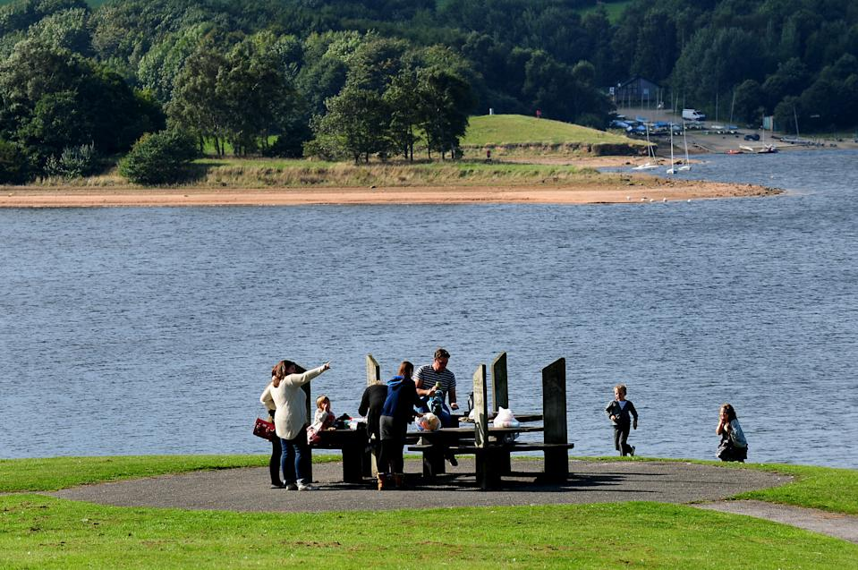 People enjoy the autumn weather at Foremark Reservoir, Derbyshire.   (Photo by Rui Vieira/PA Images via Getty Images)