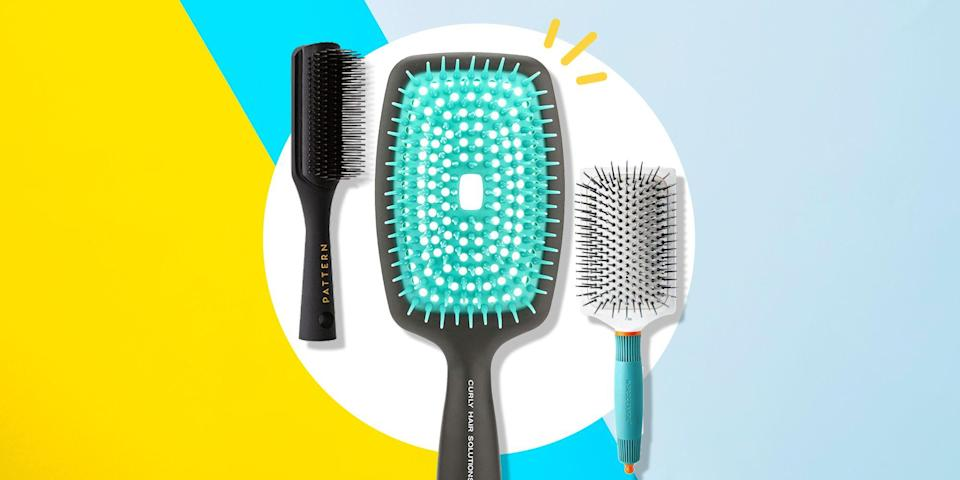 """<p>Finding the perfect<a href=""""https://www.womenshealthmag.com/beauty/a19952225/when-to-toss-hair-brush/"""" rel=""""nofollow noopener"""" target=""""_blank"""" data-ylk=""""slk:hair brush"""" class=""""link rapid-noclick-resp""""> hair brush </a>may sound like a simple task, but in reality, it can be quite challenging—particularly if you have <a href=""""https://www.womenshealthmag.com/beauty/a35351896/curly-hair-types/"""" rel=""""nofollow noopener"""" target=""""_blank"""" data-ylk=""""slk:curly hair"""" class=""""link rapid-noclick-resp"""">curly hair</a>. While no two heads of hair are the same, it's especially true when you have curls. With different types, textures, and patterns, it's often hard to know exactly which products—even those specifically designed for curls—are right for you, and it's even harder to know which brush will keep them healthy and strong.</p><p>""""If you use the wrong brush on curly hair, such as a brush that creates tension, like a Denman brush or a paddle brush, it can cause a lot of breakage,"""" explains New York-based hairstylist <a href=""""https://www.instagram.com/tcooperbeauty/?hl=en"""" rel=""""nofollow noopener"""" target=""""_blank"""" data-ylk=""""slk:T. Cooper"""" class=""""link rapid-noclick-resp"""">T. Cooper</a>. """"So, with curly hair, you always want to look for a brush that is gentle and doesn't snag the hair."""" Choosing a brush for your curls is also very dependent on what it is you plan to do with them. For instance, if Cooper is going to leave a client's curls down, she opts for a good detangling brush. """"And if I'm going to put their hair up, I like a good boar bristle brush to smooth the hair from the root,"""" she says.</p><p>When it comes to actual brushing techniques, Merian Mismmo, the founder of <a href=""""https://www.bouncecurl.com/"""" rel=""""nofollow noopener"""" target=""""_blank"""" data-ylk=""""slk:Bounce Curl"""" class=""""link rapid-noclick-resp"""">Bounce Curl</a>, suggests detangling in the shower. """"I recommend brushing hair while it's wet, with conditioner in the hair,"""" she says, pointing out that trying to detangle curl"""