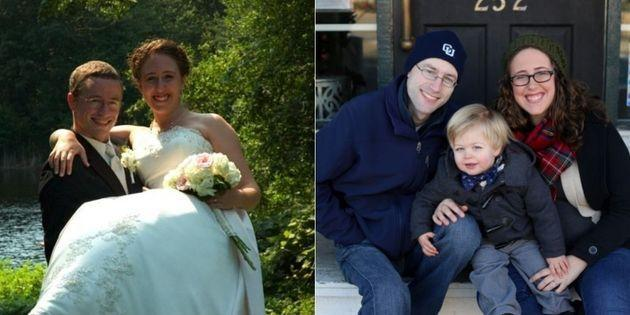 Becky L. McCoy didn't date immediatelyafter her husband, Keith died, but she understood the impulse. Here, they're pictured on their wedding day and with their oldest child. (Photo: Becky L McCoy)