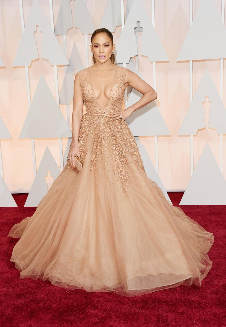 <p>The singer and actress turned heads in a blush-colored tulle dress from Elie Saab.</p>