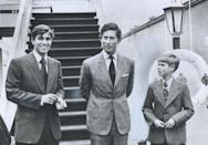 <p>Prince Charles joins his younger brothers aboard the royal yacht Britannia for a royal tour of Canada in 1976. </p>