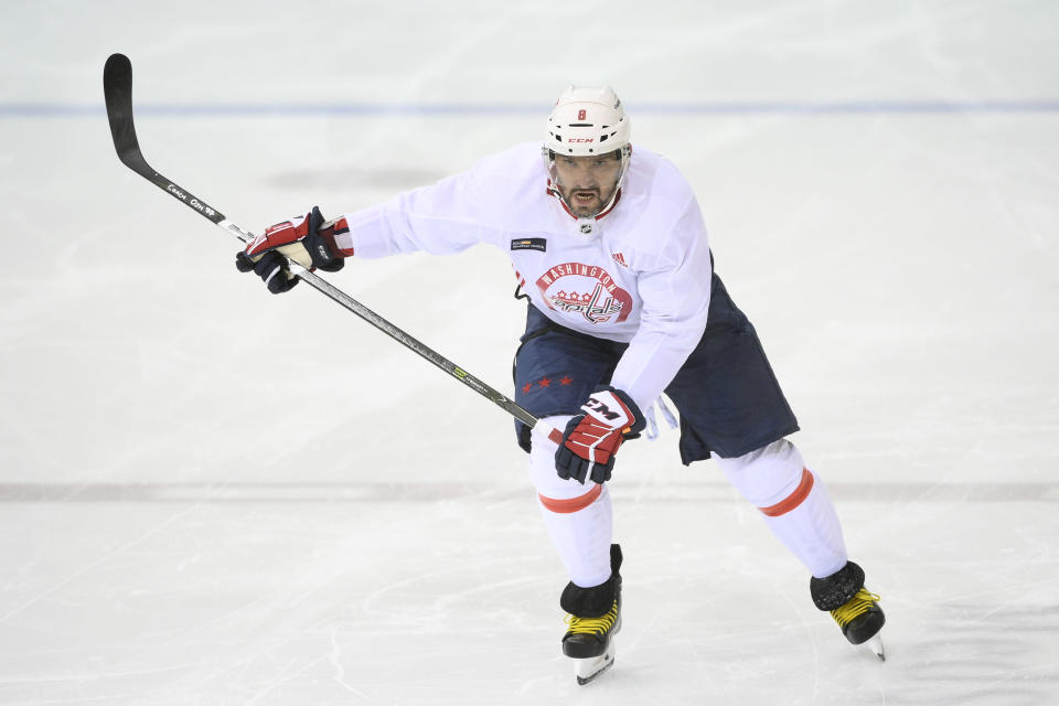 Washington Capitals left wing Alex Ovechkin skates during a drill at practice at the team's NHL hockey training camp, Thursday, Sept. 23, 2021, in Arlington, Va. (AP Photo/Nick Wass)