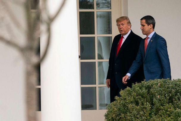 PHOTO: FILE - In this Feb. 5, 2020 file photo, U.S. President Donald Trump walks to a meeting in the Oval Office with Venezuelan opposition leader Juan Guaido at the White House in Washington. (Evan Vucci/AP)
