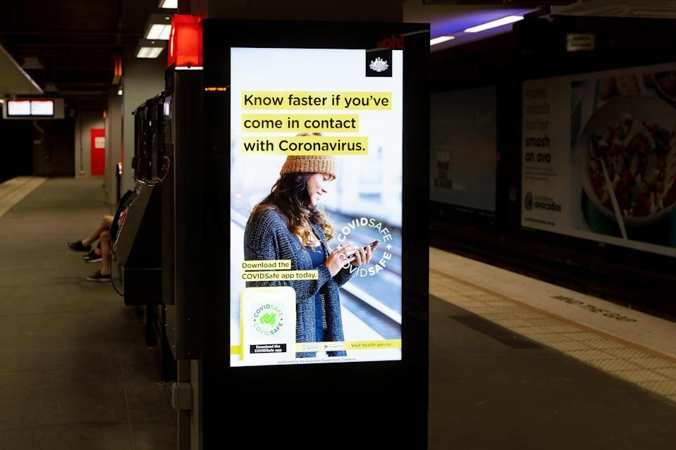 SYDNEY, AUSTRALIA - MAY 18: An Australian Government CovidSafe App advertisement in North Sydney Station. New public transport restrictions in Sydney will see commuter traffic cut by 1.4 million, with a maximum of of 32 people in a train carriage at any given time due to the Coronavirus (COVID-19) pandemic on 18 May, 2020 in Sydney, Australia. (Photo by Speed Media/Icon Sportswire)