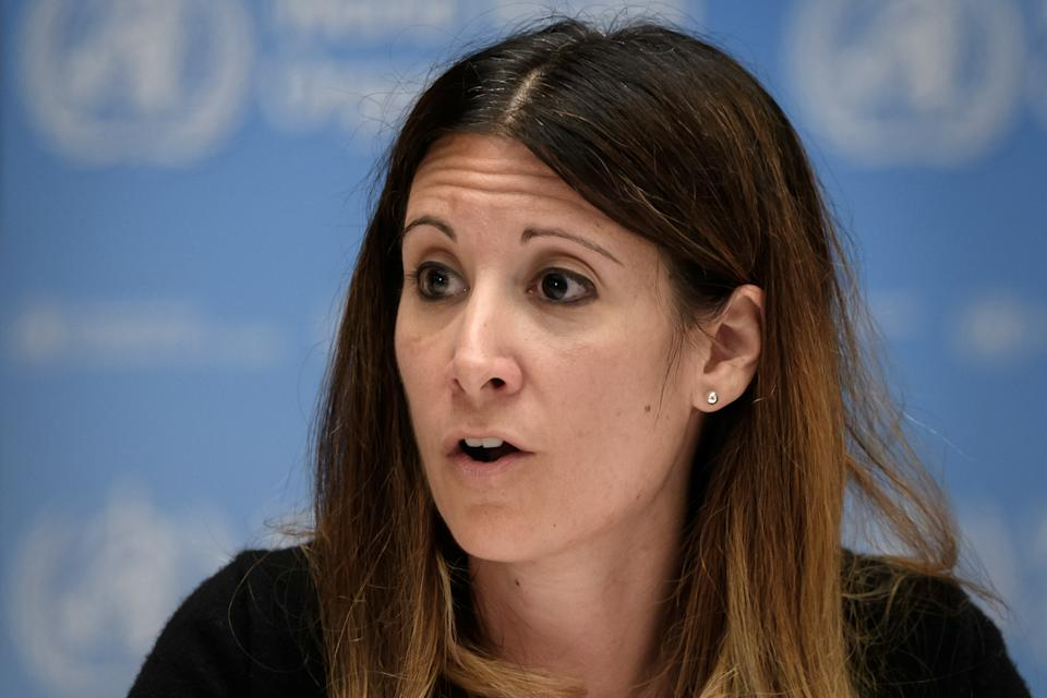 WHO Technical lead head COVID-19 Maria Van Kerkhove attends a news conference organized by Geneva Association of United Nations Correspondents (ACANU) amid the COVID-19 outbreak, caused by the novel coronavirus, at the WHO headquarters in Geneva, Switzerland July 3, 2020. Fabrice Coffrini/Pool via REUTERS