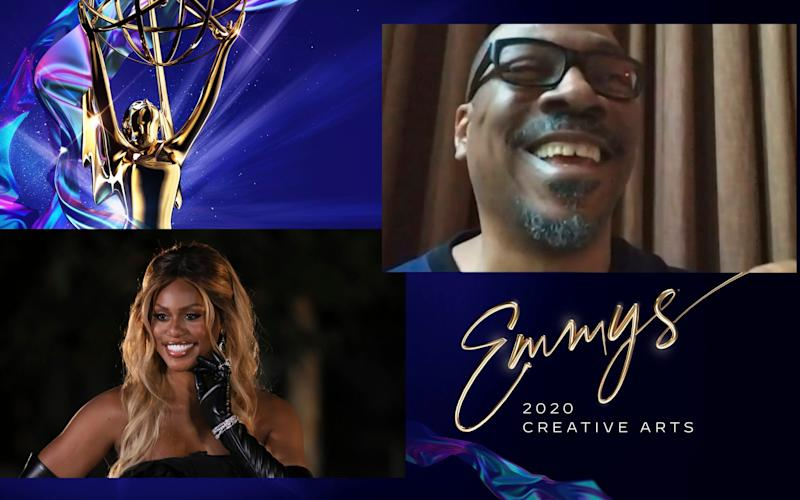 """Laverne Cox presents the Emmy for Outstanding Guest Actor In A Comedy Series to Eddie Murphy for """"Saturday Night Live"""" - Invision"""