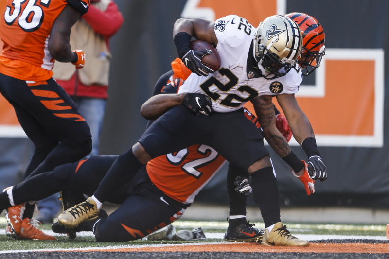 Mark Ingram scores against the Cincinnati Bengals. More