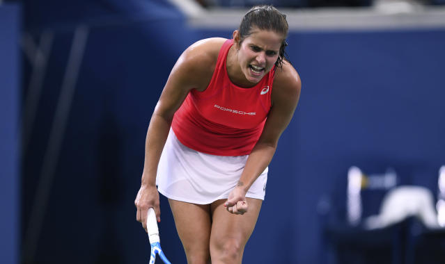 Julia Goerges, of Germany, reacts during her match againsts Donna Vekic, of Croatia, during the fourth round of the US Open tennis championships Monday, Sept. 2, 2019, in New York. (AP Photo/Sarah Stier)