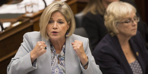 Provincial NDP Leader Andrea Horwath speaks at the Ontario Legislature in Toronto on Sept. 13, 2018.