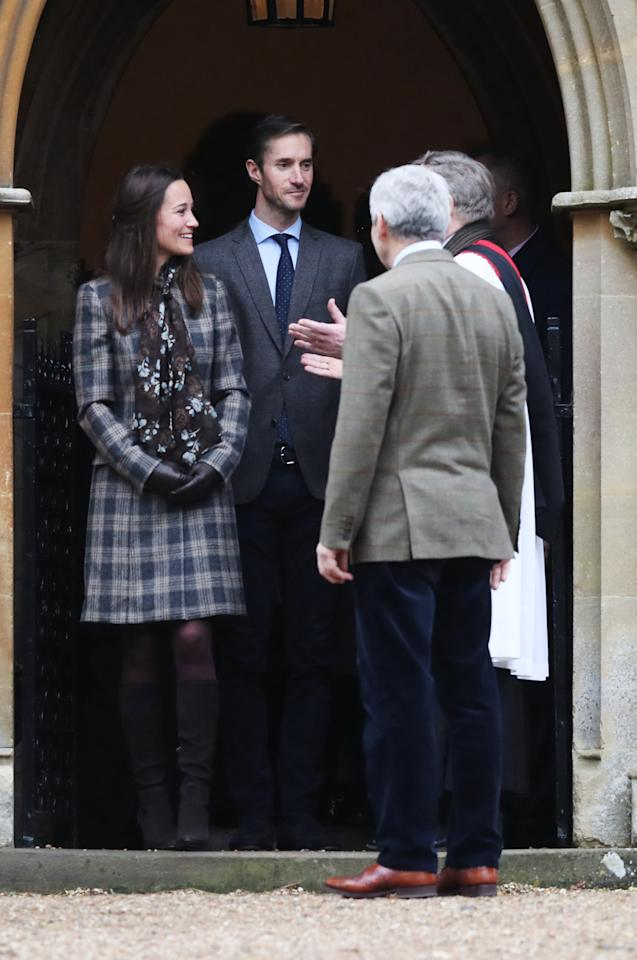 <p>Pippa went to church with the Duke and Duchess of Cambridge and her husband-to-be while dressed in a muted tweet coat and suede knee-high boots. <i>[Photo: Getty]</i></p>