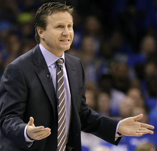 Oklahoma City Thunder head coach Scott Brooks gestures to his team against the San Antonio Spurs during the first half of Game 3 in their NBA basketball Western Conference finals playoff series, Thursday, May 31, 2012, in Oklahoma City. (AP Photo/Eric Gay)