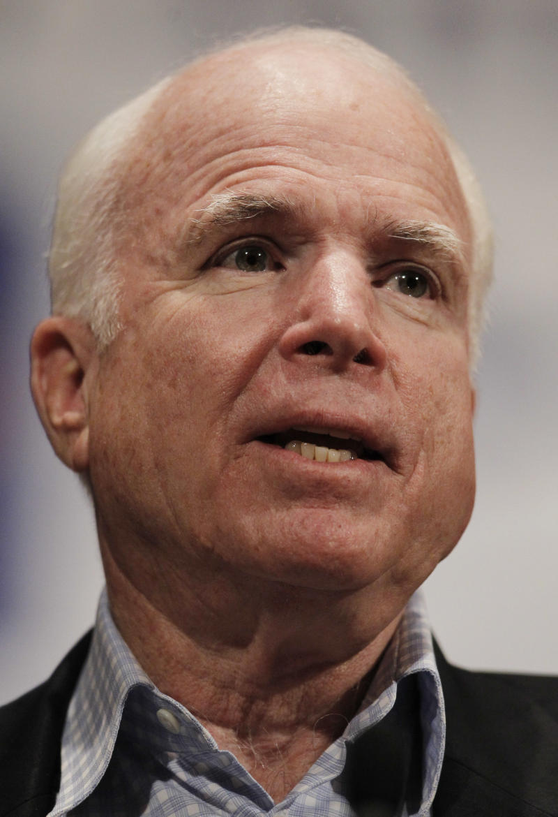 FILE -- In an Aug. 26, 2010 file photo Sen. John McCain, R-Ariz., speaks at a League of Arizona Cities and Towns Annual Conference luncheon in Glendale, Ariz. McCain is heading to the rebel stronghold of Benghazi for a meeting with forces fighting to overthrow Moammar Gadhafi, an aide told The Associated Press, Friday April 22, 2011.  (AP Photo/Ross D. Franklin/file)