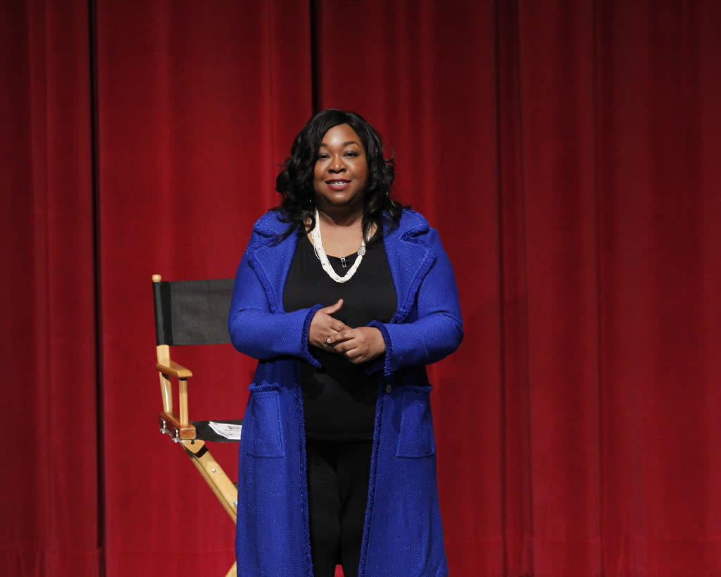 "Creator/Executive Producer Shonda Rhimes attends ""An Evening with Scandal"" at The Academy of Television Arts & Sciences for their season finale table read and Q&A on Thursday, May 16, 2013."
