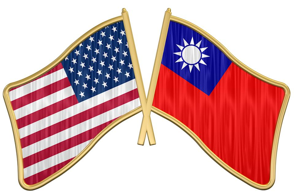 3d ray traced rendering of a golden US Friendship Flag Pin - TaiwanPlease sitemail me if you if require any other country included in the collection.