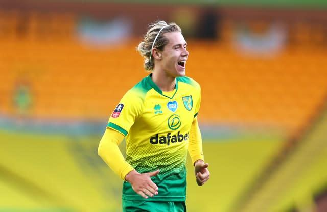 Todd Cantwell celebrates Norwich's equaliser (Catherine Ivill/NMC Pool/PA)