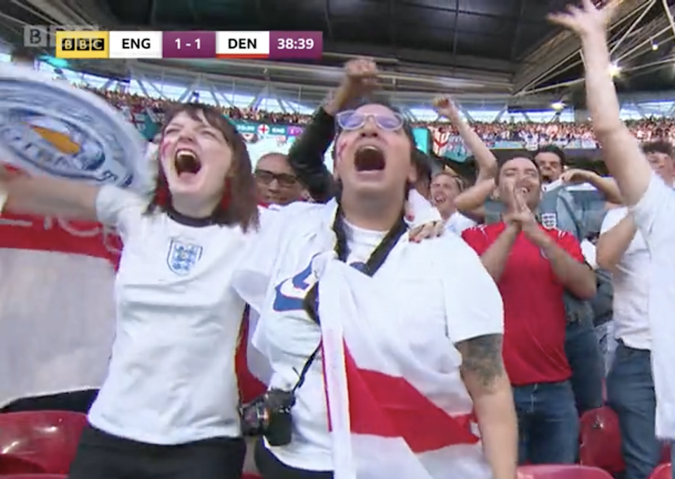 BBC cameras caught Nina Farooqi celebrating after England's first goal on Wednesday (BBC)