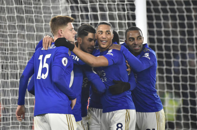 Leicester players celebrate after Leicester's Ayoze Perez scored his side's third goal during the English Premier League soccer match between Leicester City and West Ham Utd at the King Power Stadium in Leicester, England, Wednesday, Jan. 22, 2020. (AP Photo/Rui Vieira)