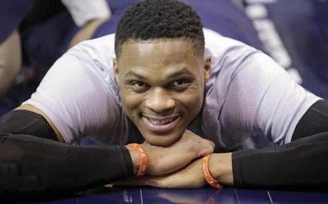 """<a class=""""link rapid-noclick-resp"""" href=""""/nba/players/4390/"""" data-ylk=""""slk:Russell Westbrook"""">Russell Westbrook</a> is happy to be an All-Star again. (AP)"""