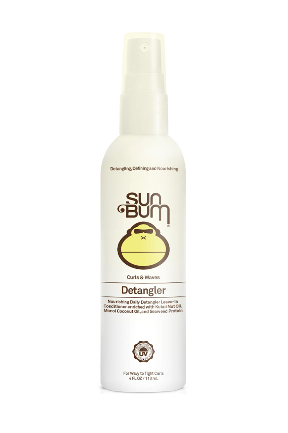 """<p><strong>Sun Bum</strong></p><p>ulta.com</p><p><strong>$14.99</strong></p><p><a href=""""https://go.redirectingat.com?id=74968X1596630&url=https%3A%2F%2Fwww.ulta.com%2Fcurls-waves-detangler%3FproductId%3Dpimprod2005717&sref=https%3A%2F%2Fwww.cosmopolitan.com%2Fstyle-beauty%2Fbeauty%2Fg36027428%2Fbest-detanglers-for-curly-hair%2F"""" rel=""""nofollow noopener"""" target=""""_blank"""" data-ylk=""""slk:Shop Now"""" class=""""link rapid-noclick-resp"""">Shop Now</a></p><p>Perfect for finer curls or <a href=""""https://www.cosmopolitan.com/style-beauty/beauty/a26325865/wavy-hairstyles-how-tos/"""" rel=""""nofollow noopener"""" target=""""_blank"""" data-ylk=""""slk:waves"""" class=""""link rapid-noclick-resp"""">waves</a>, this detangler<strong> smoothes, hydrates, and conditions your hair </strong><em>without</em> weighing it down. And since it's got a hefty dose of UV-ray protection, it's also great for maintaining your dye job or highlights during the warmer months.</p>"""