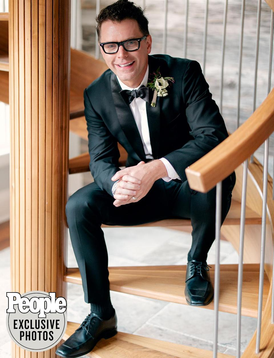 """<p>For their wedding, Bones wore a custom suit with bow tie by <a href=""""https://altonlane.com/"""" rel=""""nofollow noopener"""" target=""""_blank"""" data-ylk=""""slk:Alton Lane"""" class=""""link rapid-noclick-resp"""">Alton Lane</a>, preferring to """"blend in"""" with a classic look so Parker could """"come down and own the show"""" in her gown.</p>"""