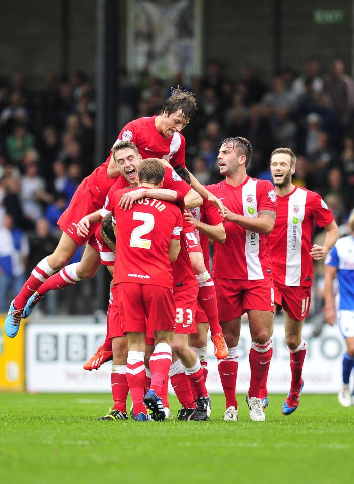 Hartlepool United's players celebrate Luke James second goal against Bristol Rovers to make it 2-1 during the Sky Bet League Two match at the Memorial Stadium, Bristol.