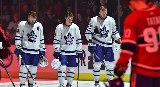 The Mitch Marner situation still hangs over the Leafs. (Getty)