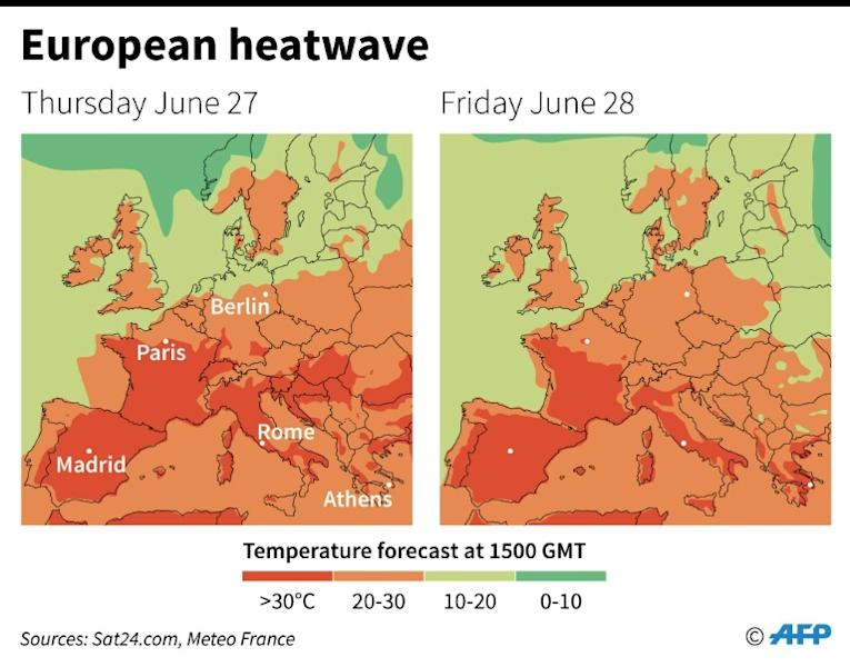 Temperatures forecast for Europe at 1500 GMT on June 27 and 28 (AFP Photo/)