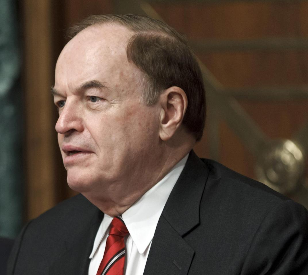 FILE - In this May 24, 2012 file photo, Sen. Richard Shelby, R-Ala. speaks on Capitol Hill in Washington. Defense Secretary nominee, former Nebraska Republican Sen. Chuck Hagel has lined up the necessary votes for the Senate to confirm him next week to be the nation's next defense secretary, after a senior Republican lawmaker said he will back President Barack Obama's choice. Barring any new developments, five-term Sen. Richard Shelby of Alabama said he would vote for his fellow Republican. (AP Photo/J. Scott Applewhite, File)