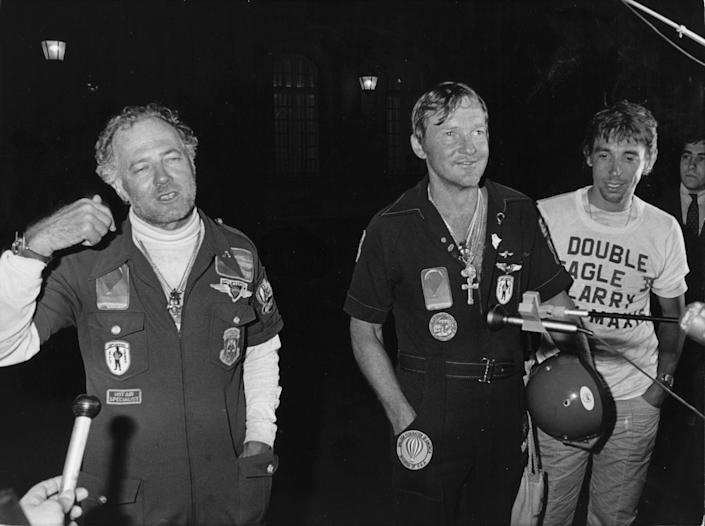 18th August 1978:  Three American airmen arrive in Paris after crossing the Atlantic, 50 years after Lindbergh's flight, in their air balloon 'Double Eagle II', a voyage that took them more than five days. They are Ben Abruzzo, Maxie Anderson and Larry Newman.  (Photo by Keystone/Getty Images)