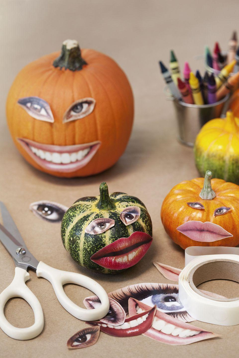 <p>Make use of the old magazine you have sitting around the house by cutting out eyes and mouths to use on your pumpkin. Simply use some craft glue to stick the faces on and voila! You've got yourself a funny pumpkin that took no time at all to make. </p>