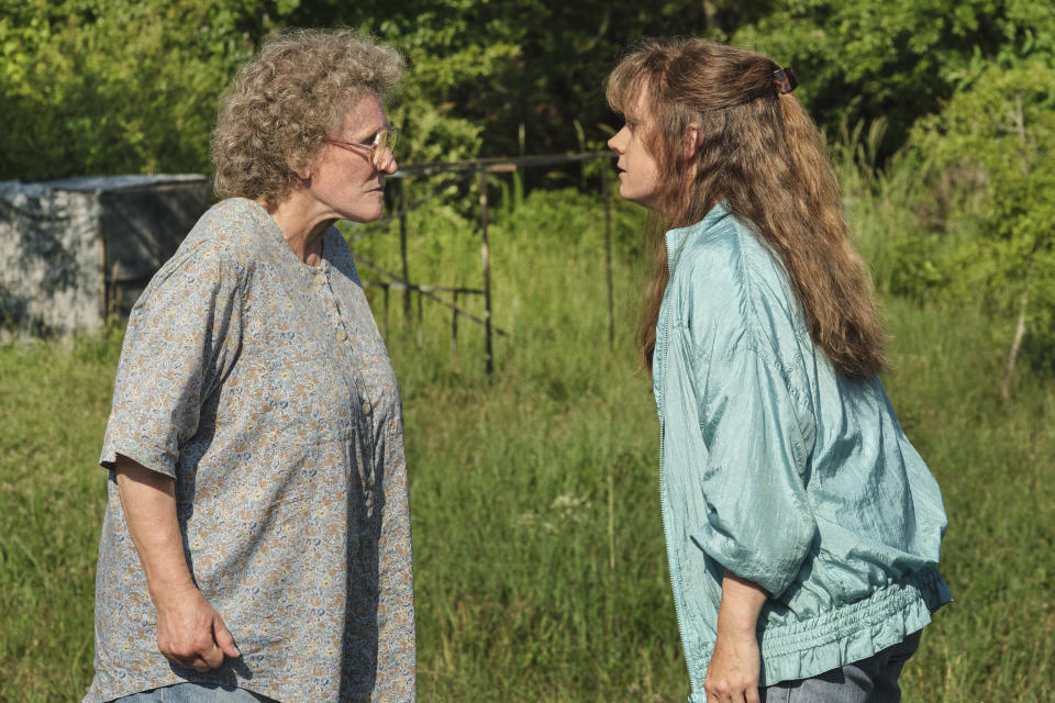 "This image released by Netflix shows Glenn Close, left, and Amy Adams in a scene from ""Hillbilly Elegy."" (Lacey Terrell/Netflix via AP)"