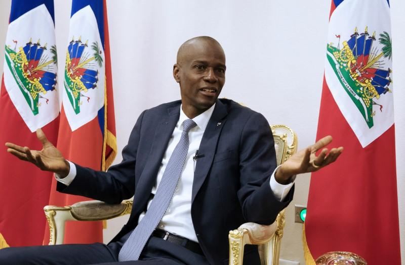 Haiti's President Jovenel Moise speaks during an interview with Reuters at the National Palace of Port-au-Prince