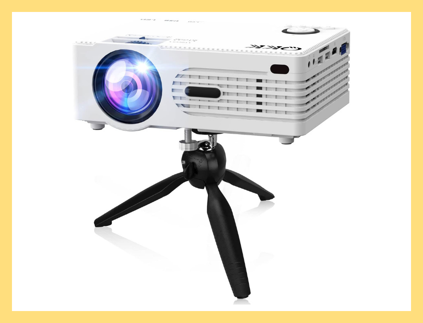 Save $38 on this projector, which comes with its own tripod stand. (Photo: Amazon)