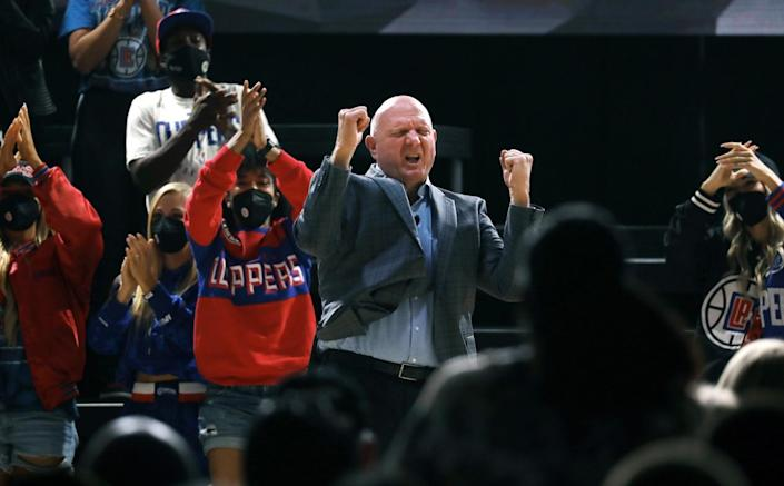 Clippers owner Steve Ballmer takes the stage during the team's arena groundbreaking ceremony.