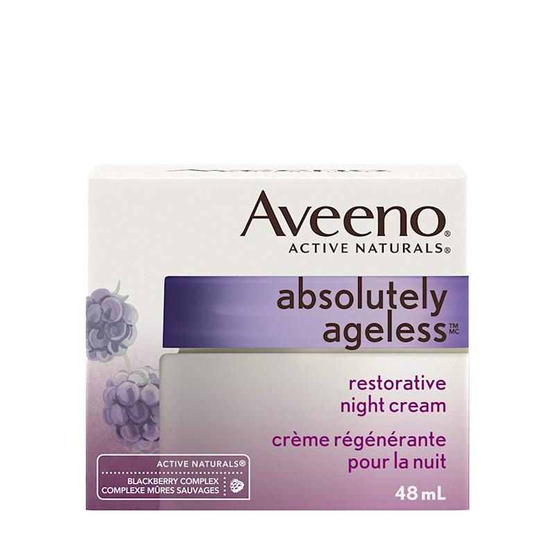 Aveeno Anti Aging Night Vitamin E Cream, Absolutely Ageless Restorative Moisturizer for Face, 48 mL