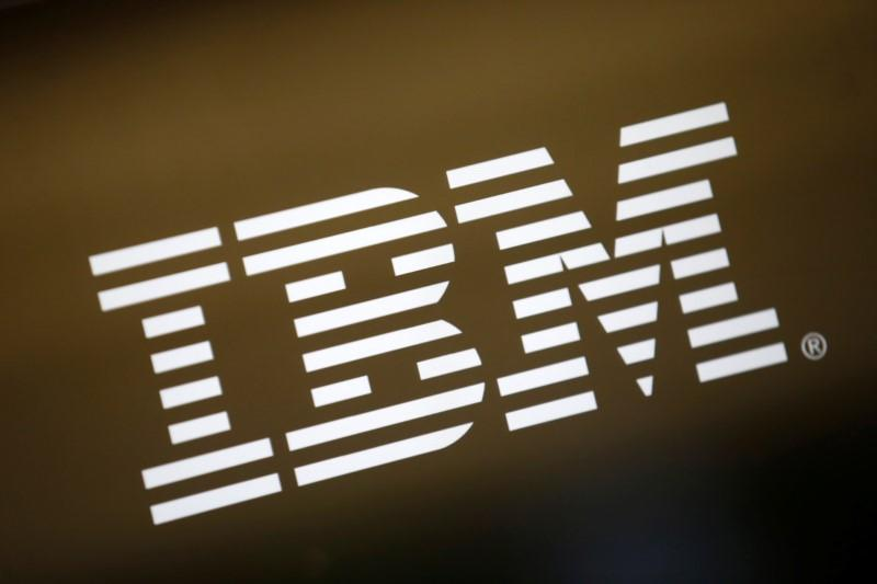 The logo of Dow Jones Industrial Average stock market index listed company IBM (IBM) is seen in Los Angeles