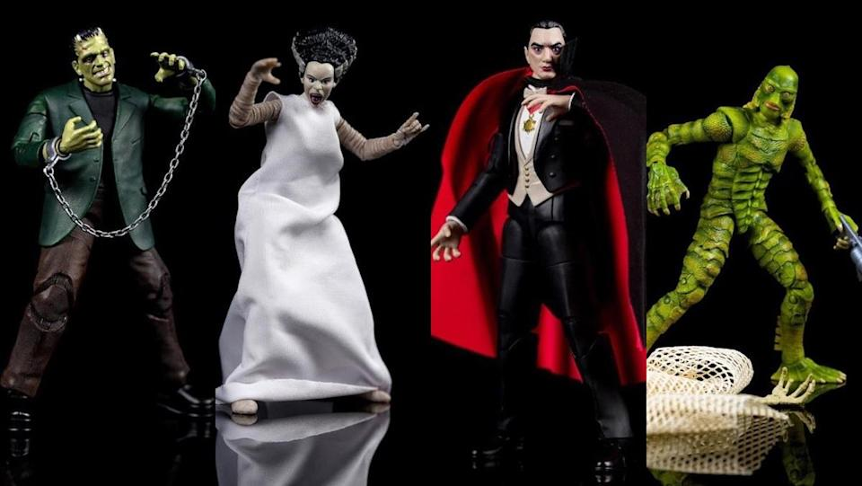 Jada Toys's Universal Monsters action figures for Frankenstein's monster, Bride of Frankenstein, Dracula, and Creature from the Black Lagoon