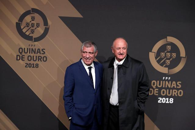 Portugal's national team coach Fernando Santos and Brazilian coach Luiz Felipe Scolari arrive at the Quina Awards ceremony in Lisbon, Portugal, March 19, 2018. REUTERS/Rafael Marchante