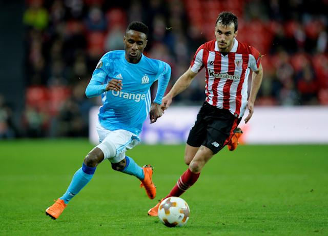 Soccer Football - Europa League Round of 16 Second Leg - Athletic Bilbao vs Olympique de Marseille - San Mames, Bilbao, Spain - March 15, 2018 Marseille's Bouna Sarr in action with Athletic Bilbao's Inigo Lekue REUTERS/Vincent West